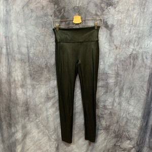 Spanx Black Faux Lather High Waisted Leggings L